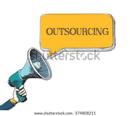 OUTSOURCING word in speech bubble with sketch drawing style - stock vector