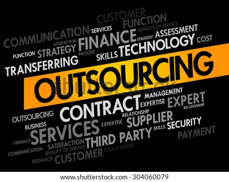 Outsourcing words cloud, business concept - stock vector
