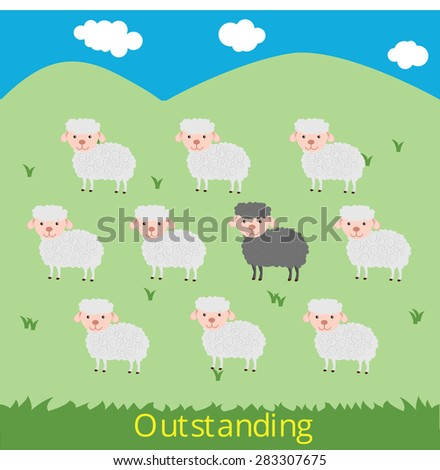 Outstanding concept, black sheep around with white sheeps on the green field Vector - stock vector