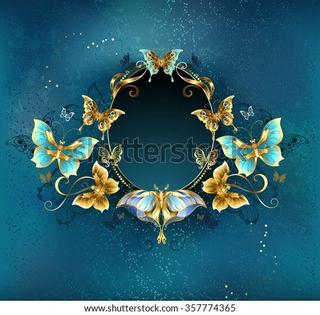 Oval banner decorated with luxurious gold butterflies on a blue background.
