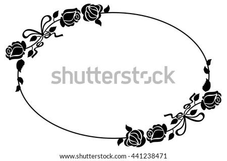 Oval Black White Frame Roses Silhouettes Stock Vector 441238471 ...