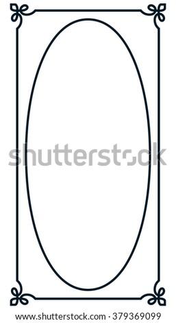 Oval border photo frame deco. Vector simple vertical line signboard - stock vector