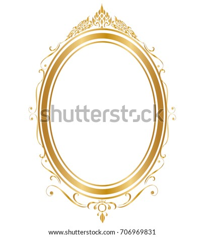 gold frame border png. Oval Frame And Borders Golden On White Background, Thai Pattern, Vector Illustration Gold Border Png