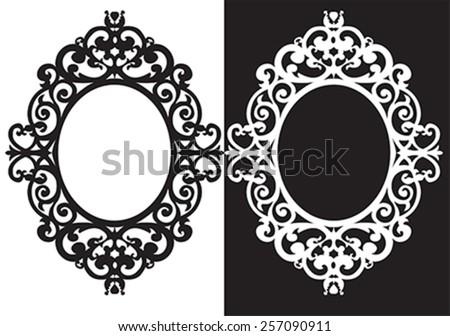 oval frame ornament, illustration, vector - stock vector