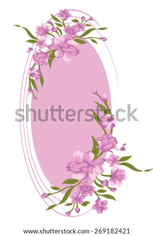 Oval frame with a bouquet of beautiful flowers. - stock vector