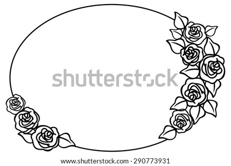 Oval frame with outline roses - stock vector
