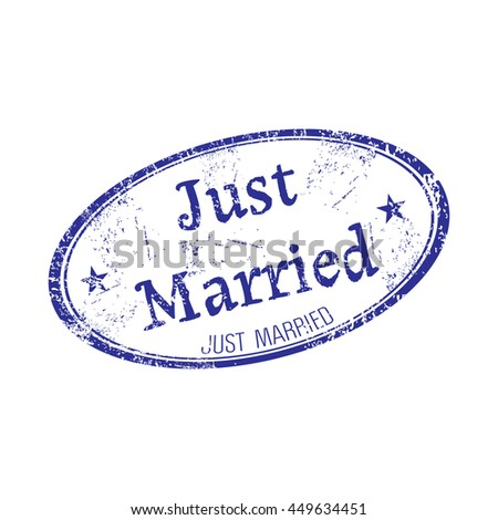 Oval grunge rubber stamp with the text just married written inside the stamp - stock vector