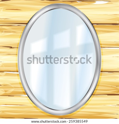 oval mirror on a wooden wall - stock vector