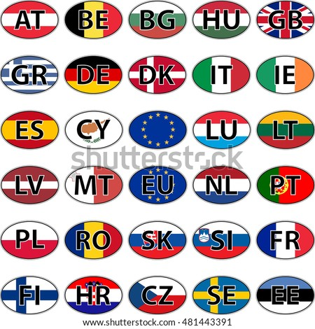 Car Stickers European Countries