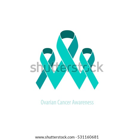 Ovarian Teal Ribbons Awareness&Support Emblem duotone flat vector design over light background
