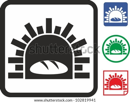 Oven and bread vector icon - stock vector