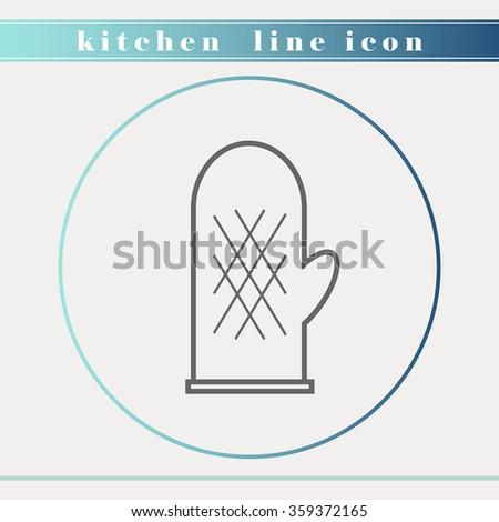 Oven glove outline thin line icon. Household appliance, kitchen and restaurant accessories, equipment, cooking utensil, cutlery tools, kitchenware and cookware for food preparation. Flat design. - stock vector
