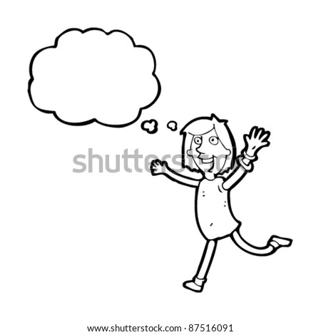 over excited woman cartoon