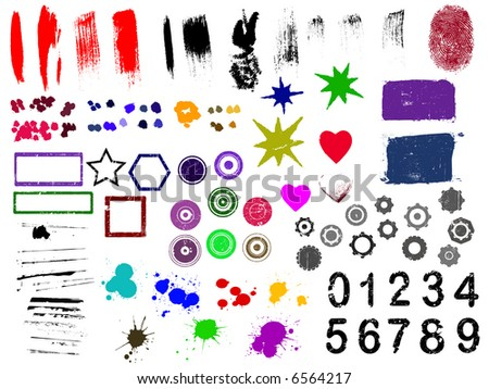 Over 90 Grunge elements - Highly Detailed vector grunge elements Separately grouped and layered for easy use. - stock vector