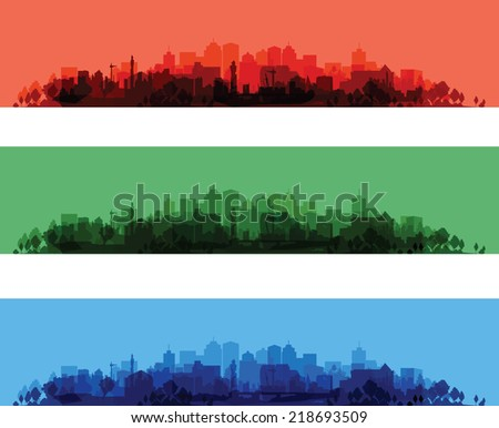 over print cityscapes - stock vector
