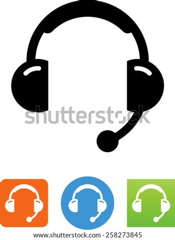 Over the ear audio headset with microphone. Vector icons for video, mobile apps, Web sites and print projects.  - stock vector