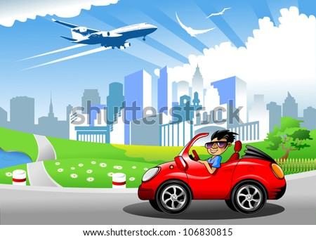 over the town blue and green meadow blue airplane flying - stock vector