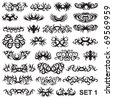 Over 25 tribal tattoo. Set 1 - stock vector