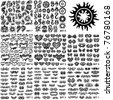 Over 200 tribal tattoos. Set 1-8 - stock vector