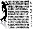 over 200 vector handmade dancing and singing peoples silhouettes - stock photo