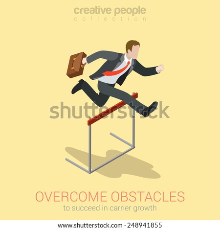 Overcome obstacle crisis risk avoid business problem trouble concept flat 3d web isometric infographic vector. Businessman jump over earth ground crack rift. Creative people collection. - stock vector