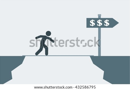 Overcoming Financial Problems Difficulties Conceptual Vector Design