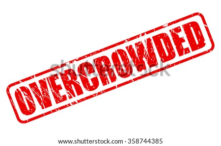 OVERCROWDED red stamp text on white - stock vector