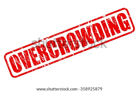 OVERCROWDING red stamp text on white - stock vector