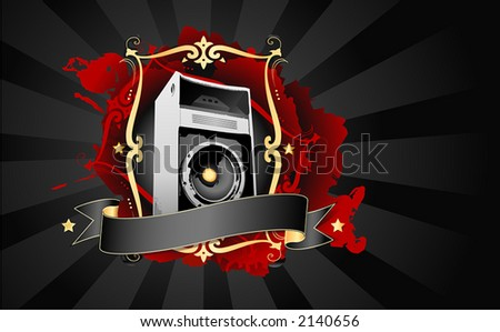 Overdrive. You can separate all the elements to get only the speaker, frame, stains, banner... - stock vector