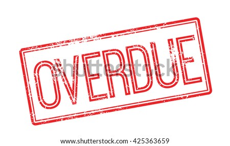 Overdue red rubber stamp on white. Print, impress, overprint. - stock vector
