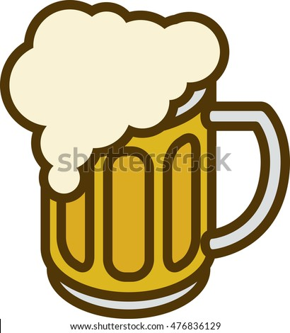 Overflowing Beer Mug with Overflow isolated ona White Background