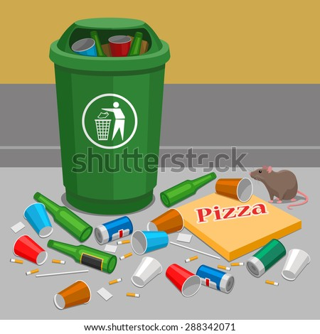 Overflowing trash can - stock vector