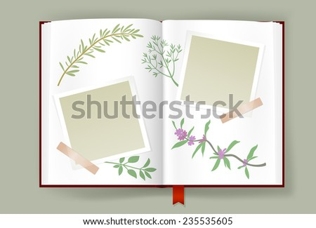 Overhead view of opened photo album with scraps of blank photo frames and clipped  aromatic herbs. Scrapbook or culinary book template. Copy space. Vector is EPS10. Transparency effects. - stock vector