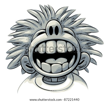 Overjoyed laugh: cute crazy boy with big teeth and wild hair style is laughing out loud - stock vector