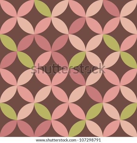 Overlapping circles in pink and green seamless pattern, vector - stock vector