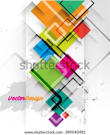 Overlapping Colorful Elements Geometric Background - stock vector