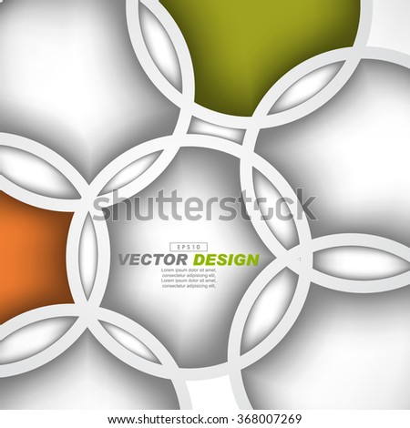 overlapping geometric circles flat layout concept vector design - stock vector