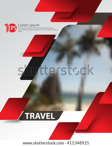 overlapping geometric elements blurred photo realistic beach background. eps10 vector - stock vector