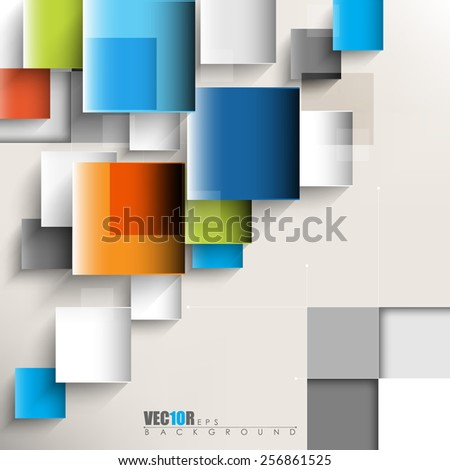 overlapping geometric squares with thin lines eps10 vector design  - stock vector
