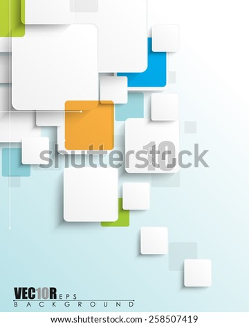 overlapping geometric white squares blank space for elements and texts eps10 vector - stock vector