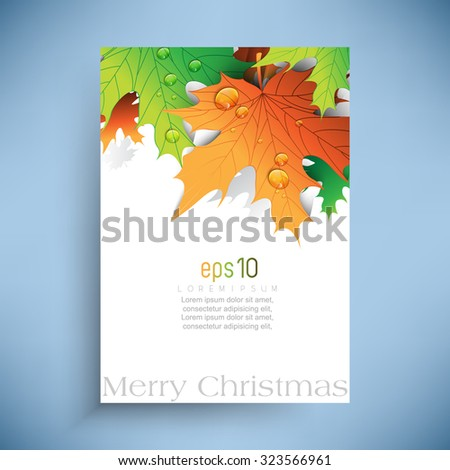 overlapping green leaves with dew drops Christmas background - stock vector