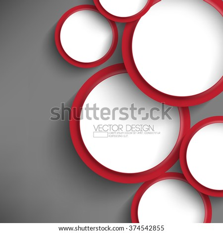 overlapping round white and red frames flat layout design - stock vector