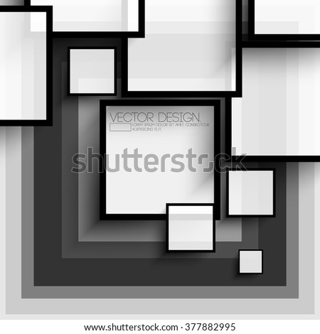 overlapping squares flat black and white design