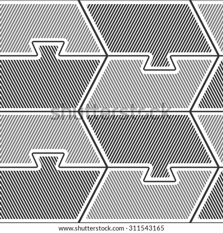 overlapping tiles puzzle seamless pattern, monochrome style