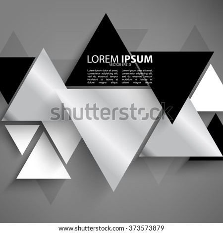 overlapping triangle metallic effect flat layout - stock vector