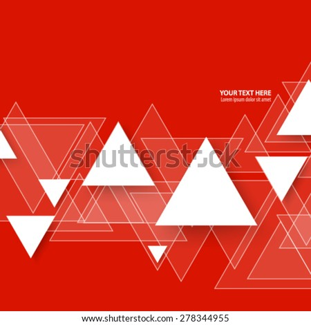 Overlapping Triangles Red Background - stock vector
