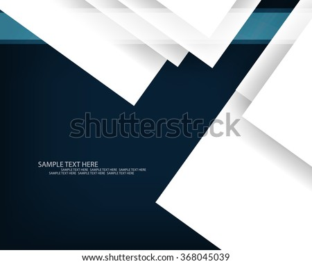 overlapping white paper on dark background flat layout corporate business illustration - stock vector