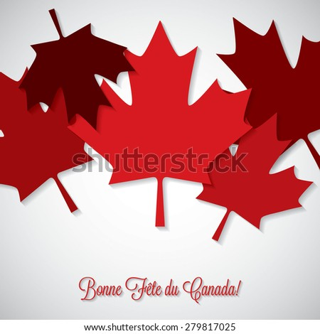 Overlay leaf Canada Day card in vector format. - stock vector
