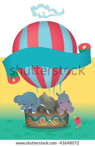 Overload of cuteness. Vector Illustration of a heavy bunch of little friends trying to take off in an air balloon. - stock vector