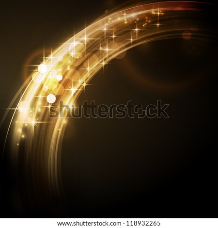 Overlying circle segments with light effects and stars form an abstract golden glowing round border on dark background with a sparkling quality that makes it perfect for the festive Christmas season - stock vector